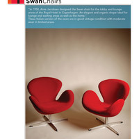A Pair of Arne Jabobsen Swan Chairs in Red Velvet