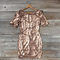 Rose Gold Party Dress, Sweet Women&#x27;s Bohemian Clothing