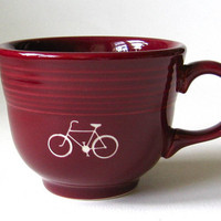 reCYCLEd Fiestaware mug with bicycle