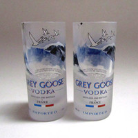 Grey Goose vodka shot glass created from a 50 mL recycled glass airline bottle