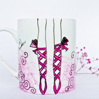 Painted Mug - Pink Ballet Shoes Cup - Coffee Mug