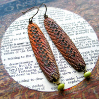 stickleback // copper earrings // fall colors // snakeskin // patina jewelry // textured metal earrings