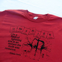 Innovation - Nikola Tesla - Adult T-Shirt - Red - Size Large