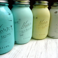 WEDDING and Home DECOR - Painted Mason Jars - Vase - Seaside Quart