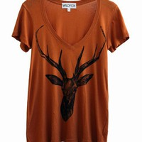 STAG - HIPPIE VNECK at Wildfox Couture in - DIRTY WHITE, - BURNT ORANGE