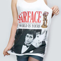 AL PACINO Scarface Shirt Movie Film Actor Shirt Tank Top Women Shirt Tunic Sleeveless Singlet White T-Shirt Sleeveless Women T-Shirt Size M