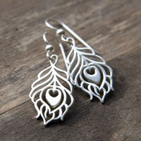 PEACOCK FEATHER Sterling Silver Earrings by burnish on Etsy