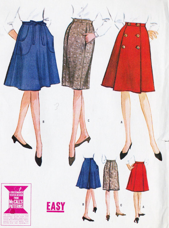1960s misses slim a line and wrap skirts from ankeny