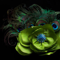 Peacock feather wedding bride, bridal fascinator flower in blue and green