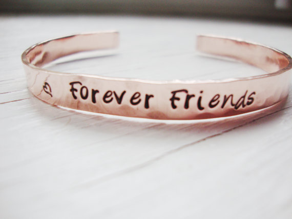 Forever friends hammered handstamped copper cuff