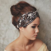 Hippie Turban Twist Headband - dark grey