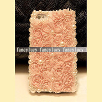 iphone 4 case iphone 4s case lace iphone 4 case pearl iphone 4 case Handmade bling iphone case cover  Cloth Roses