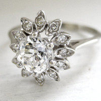1.22 Carat Vintage Art Nouveau Solitaire Diamond Engagement Ring 14kt White Gold High Quality 1.10ct VS-2 Old European Cut Diamond Flower