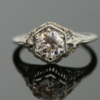 Antique Filigree Diamond Engagement Ring - 18K White Gold