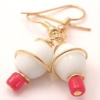 Glass Earrings with Gold Wire Wrapping - White and Red Glass Beads