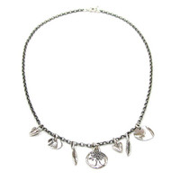Charmed Antiqued Silver Necklace