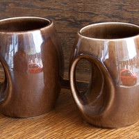 Pair of Holkham 'Owl Eye' Mugs - Brown