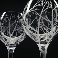 2 Red Wine Glasses  Hand Engraved  &#x27;Reaching by daydreemdesigns