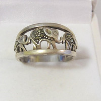 Unique sterling silver 925 Marcasite Elephant band ring size 10.75