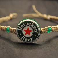 Green and White Heineken Recycled Beer Cap Hemp Anklet