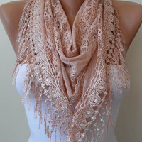 New - Trendy - Triangular - Lace Shawl - Salmon Lace Scarf - Salmon Scarf with Salmon Lace Trim Edge