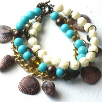 Ocean Charm Bracelet : Boho Sea Shells Beaded Teal Multi Strand