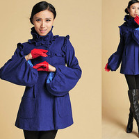 Cute Blue ruffled wool coat with funnel sleeve (384)