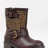 Bamboo ITALO-01 Studded Mid Calf Biker Boot | Shop Bamboo Shoes