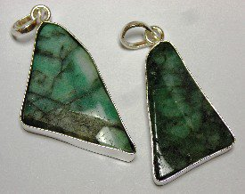 Emerald slice Polished Pendant Sterling Silver
