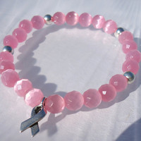 Breast Cancer Awareness Bracelet,  Pink Stretch Bracelet, Awareness Ribbon