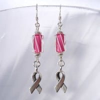 Breast Cancer Awareness Earrings, Pink Earrings, Awareness Ribbon