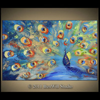 PEACOCK Art ORIGINAL Colorful Painting Large by benwill on Etsy