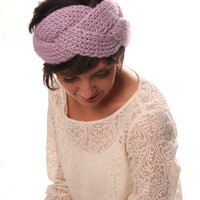 Cable knit headband / ear warmer in lavender color