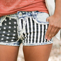 American Flag Denim Cutoff Shorts