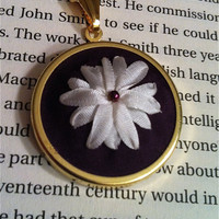 Hand Embroidered Silk Ribbon Flower Pendant  by BeanTownEmbroidery