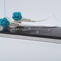 Pretty  Peacock Blue Rose earbuds with Swarovski Crystals