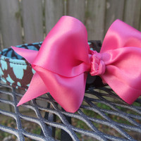 Dog Collar and Bow - MADE TO ORDER Blue and Brown Large Damask Print and Pink Ribbon Bow