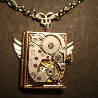 Steampunk Neo Victorian Watch Movement LOCKET Necklace with Wings (597)