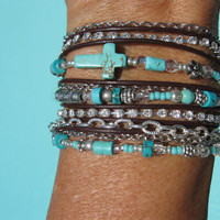 Boho - TURQUOISE - Endless Leather -  Wrap Bracelet