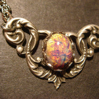 Victorian Style Fire Opal Necklace in Antique Silver (598)