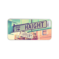 Iphone 5 case. Iphone case. Haight Ashbury. San Francisco. Blue. Pink. Girly. Urban. Street Signs. Photo. White. California.