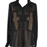 Black Studded Sheer Cross Blouse from CherryKreations21