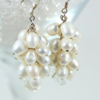 Earrings Bridal Chunky Cluster Pearl Dangle Earrings Ivory