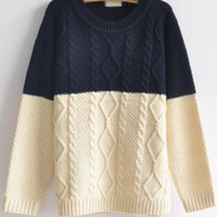 Color Block Round Neck Sweater Navy - Designer Shoes|Bqueenshoes.com
