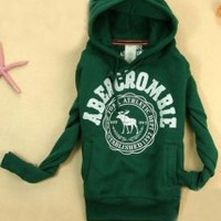 Green Plus Fleece Sleeve Head Short Paragraph Sweatshirt - Designer Shoes|Bqueenshoes.com