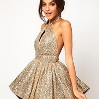 Miss Francesca Couture Sequin Halter Prom Dress at asos.com