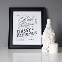 8x10 Print Black and White Coco Chanel Quote Classy by pixelcloud
