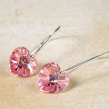 Small Heart Earrings Pink Heart Swarovski Crystal Earrings Romantic Gift Idea For Her
