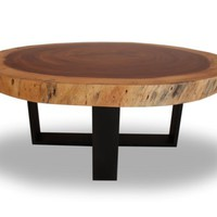 Rotsen Furniture - Round Solid Wood Table - Blackened Metal Base