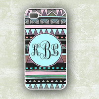 iPhone 4 case - Tribal, aztec pattern with Tiffany blue - monogrammed Iphone cover  4s, Iphone case  (9897)